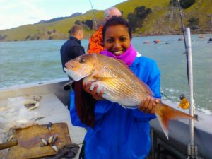 Dr Clare Fernandes fishing